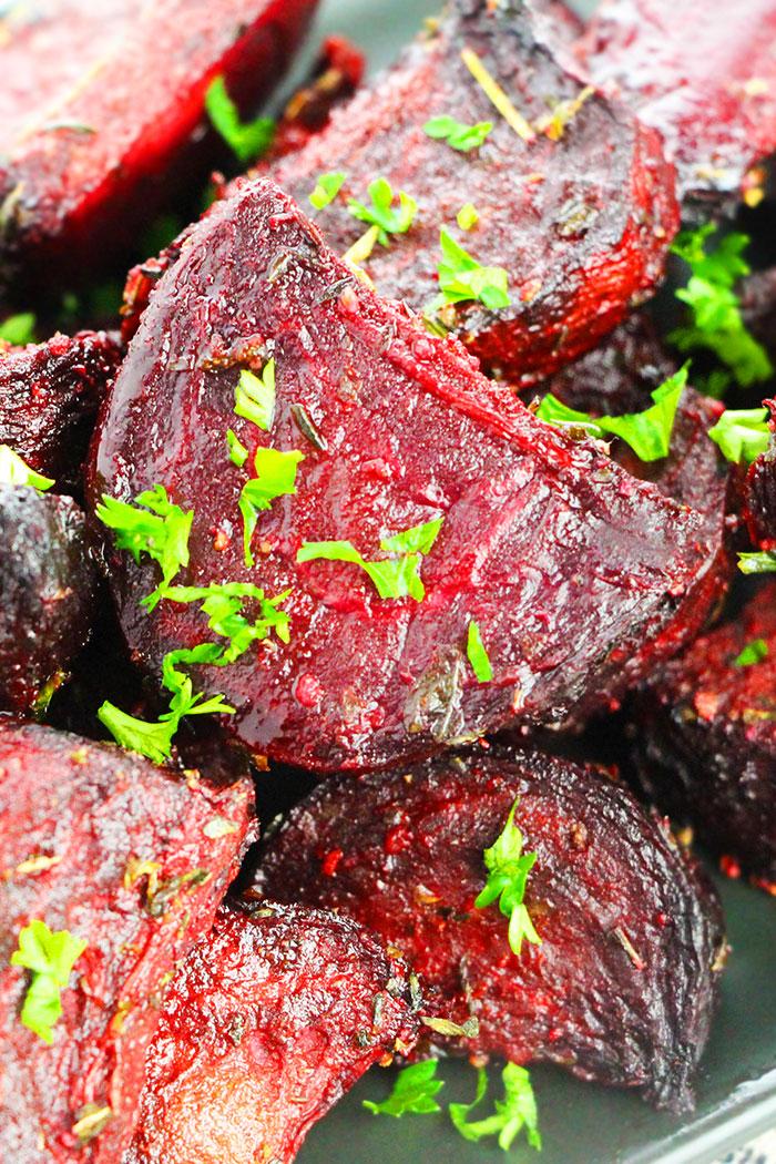 Baked Beets with Italian Herbs- Closeup Shot