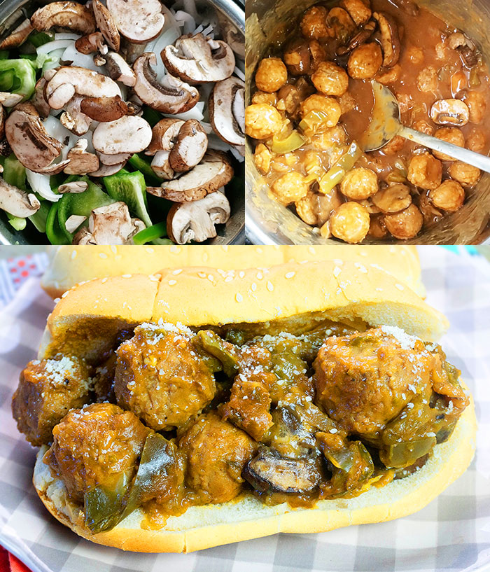 Collage Image with Step by Step Process Shots on How to Make Instant Pot Meatball Sub