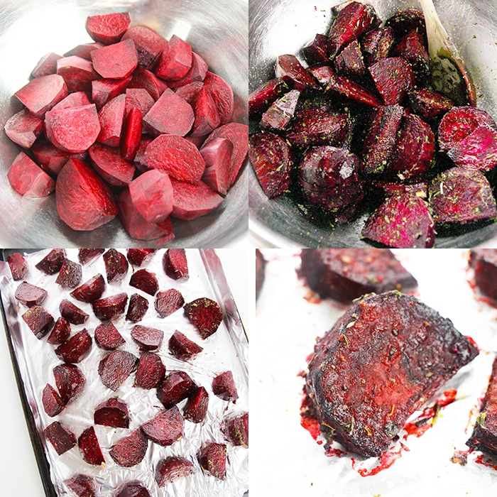 Collage Image with Step by Step Process Shots on How to Make Roast Beetroot