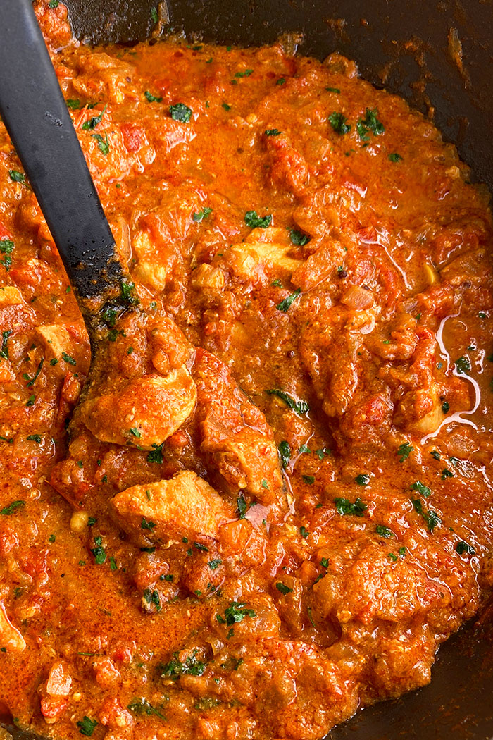 Easy Homemade Instant Pot Chicken Curry in Black Nonstick Pot