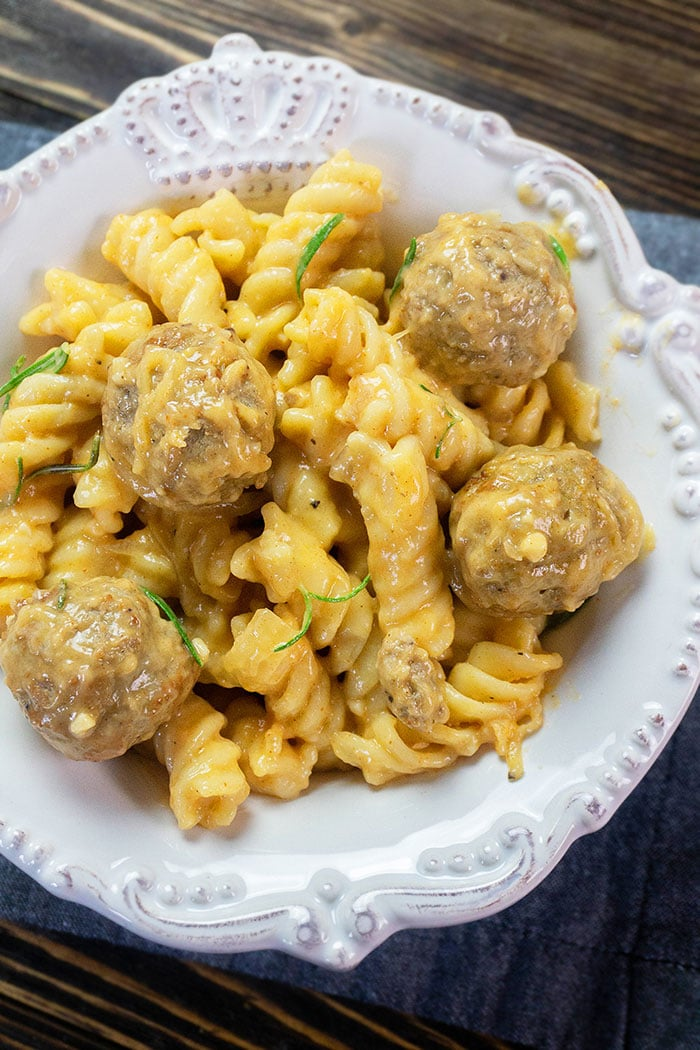 Creamy Instant Pot Meatball Pasta in White Bowl- Overhead Shot