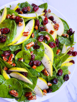 Easy Homemade Pear Salad in White Plate- Overhead Shot