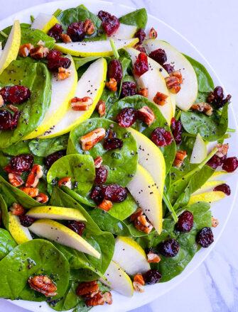 Easy Homemade Pear Salad in White Plate- Overhead Shot