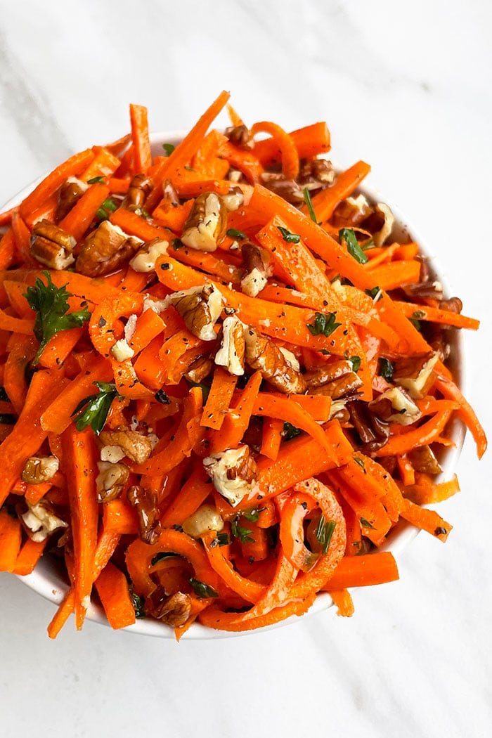 Overhead Shot of Carrot Coleslaw With Nuts