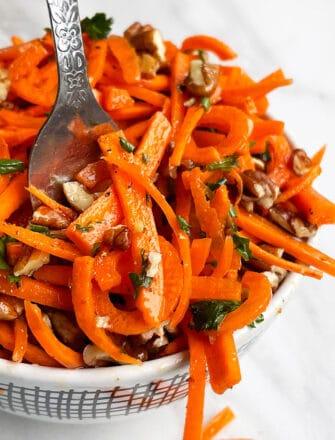 Easy Homemade Carrot Slaw in White Bowl