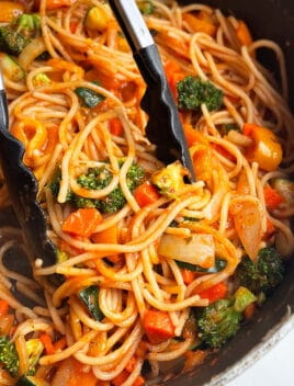 Easy Vegetable Pasta Prepared in Instant Pot and Served in Black Pot With Tongs