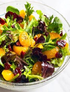 Easy Mandarin Orange Salad in Glass Bowl on White Background