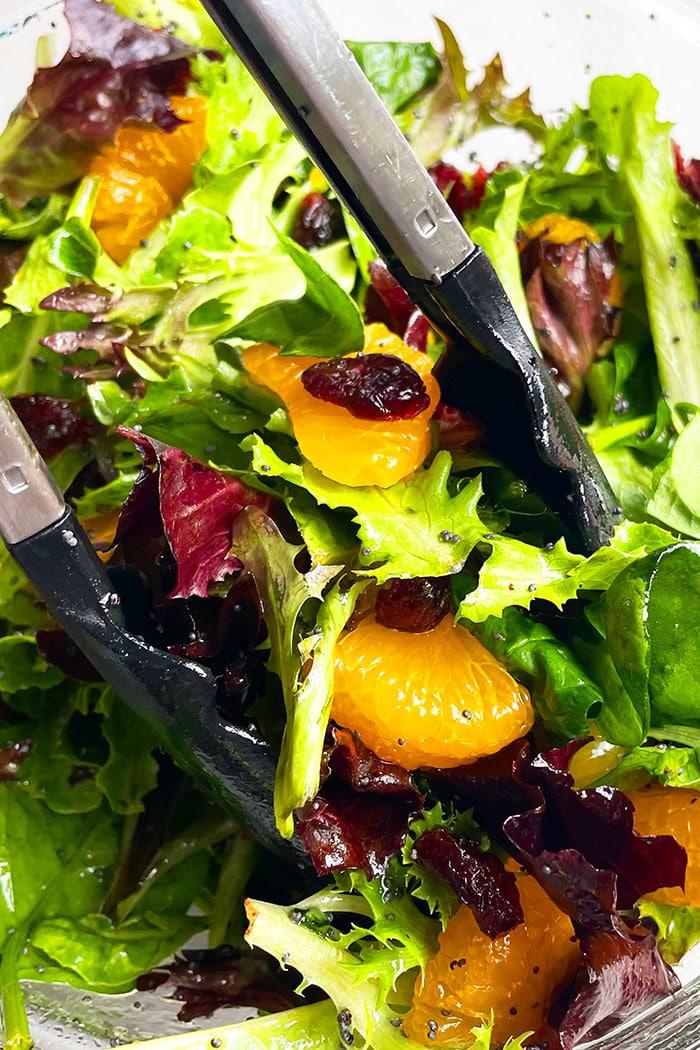 Closeup Shot of Tongs Full of Mandarin Salad