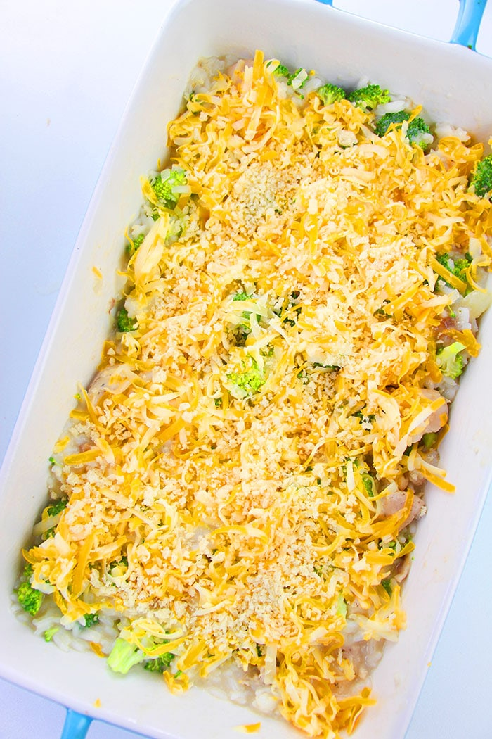 Unbaked Chicken and Broccoli Bake in White Casserole Dish- Overhead Shot