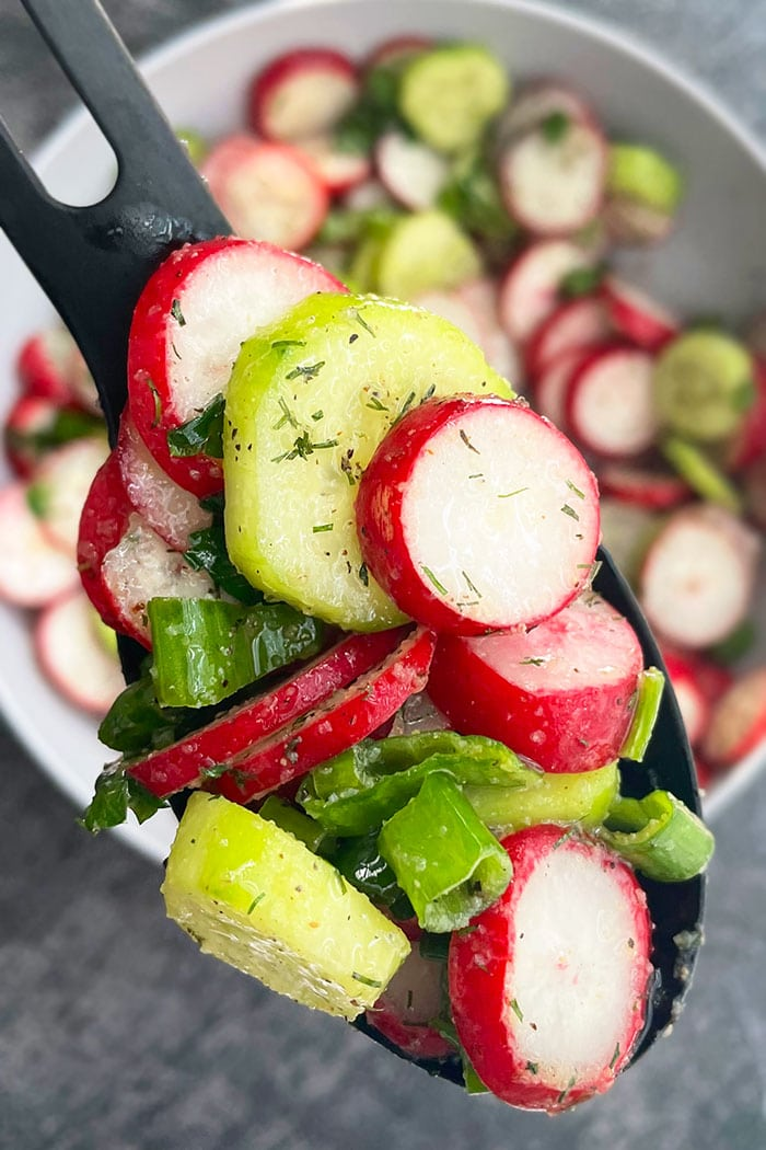 Spoonful of Light Salad With Cucumbers, Radishes, Dill, Green Onions- Closeup Shot