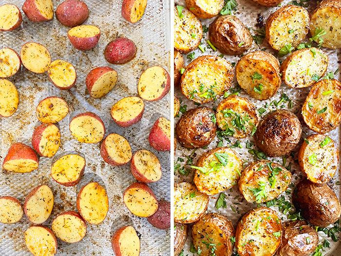 Collage Image With Step by Step Pictures on How to Make Baked Baby Potatoes