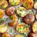 Roasted Baby Potatoes (Small Potatoes or Mini Potatoes) in Baking Tray- Overhead Shot
