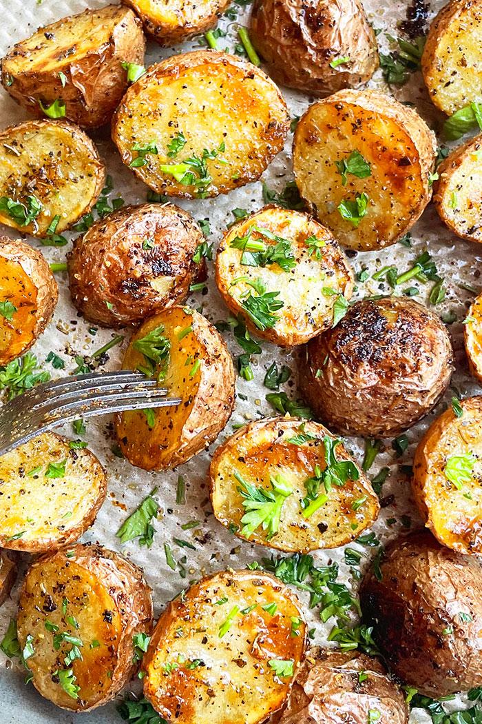 Roasted Mini Potatoes (Small Potatoes) in Baking Tray- Overhead Shot