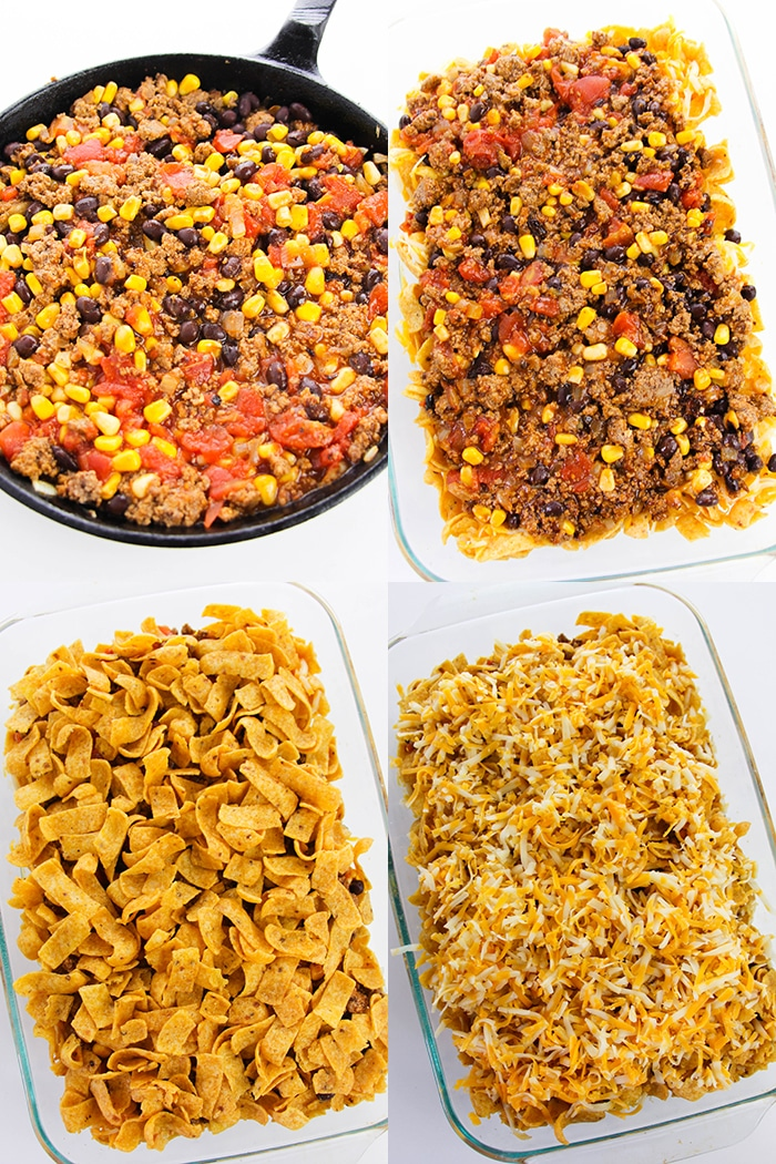 Collage Image With Step by Step Pictures on How to Make Frito Pie