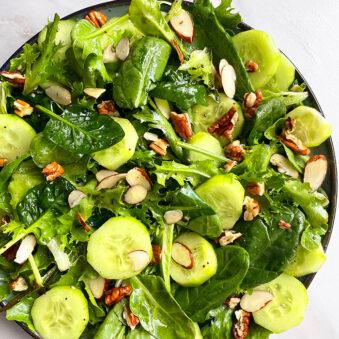 Easy Green Salad With Lemon Vinaigrette in Plate- Overhead Shot