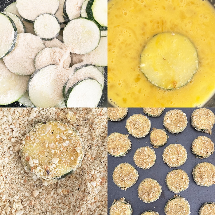Collage Image With Step by Step Pictures on How to Make Crispy Zucchini Chips