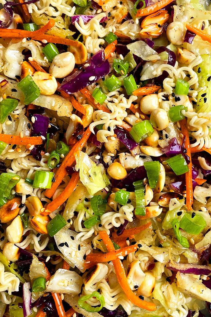 Easy Homemade Asian Salad- Closeup Shot