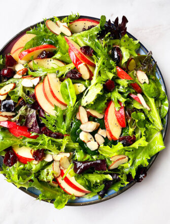 Easy Fall Apple Salad With Maple Cider Vinaigrette in Black Dish- Overhead Shot
